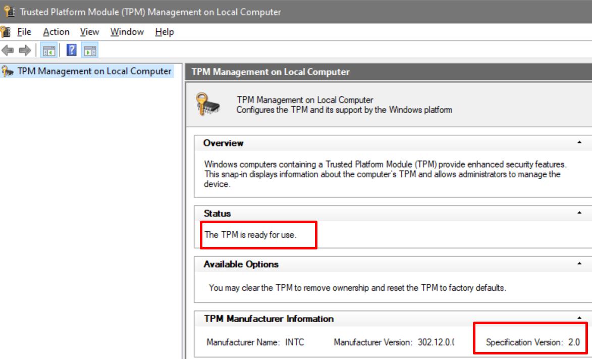 Trusted Platform Module (TPM) 2.0 Management